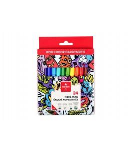 Kleurstiften teenage, driekantig, 24 kleuren